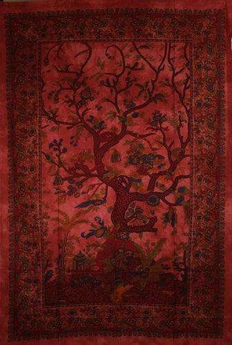 Sunset Tree of Life Birds Tapestry