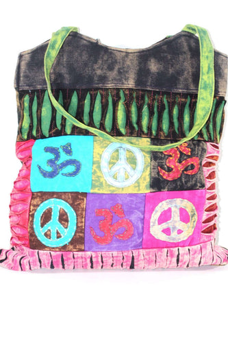 Peace & Om Patchwork Jhola Carry Bag