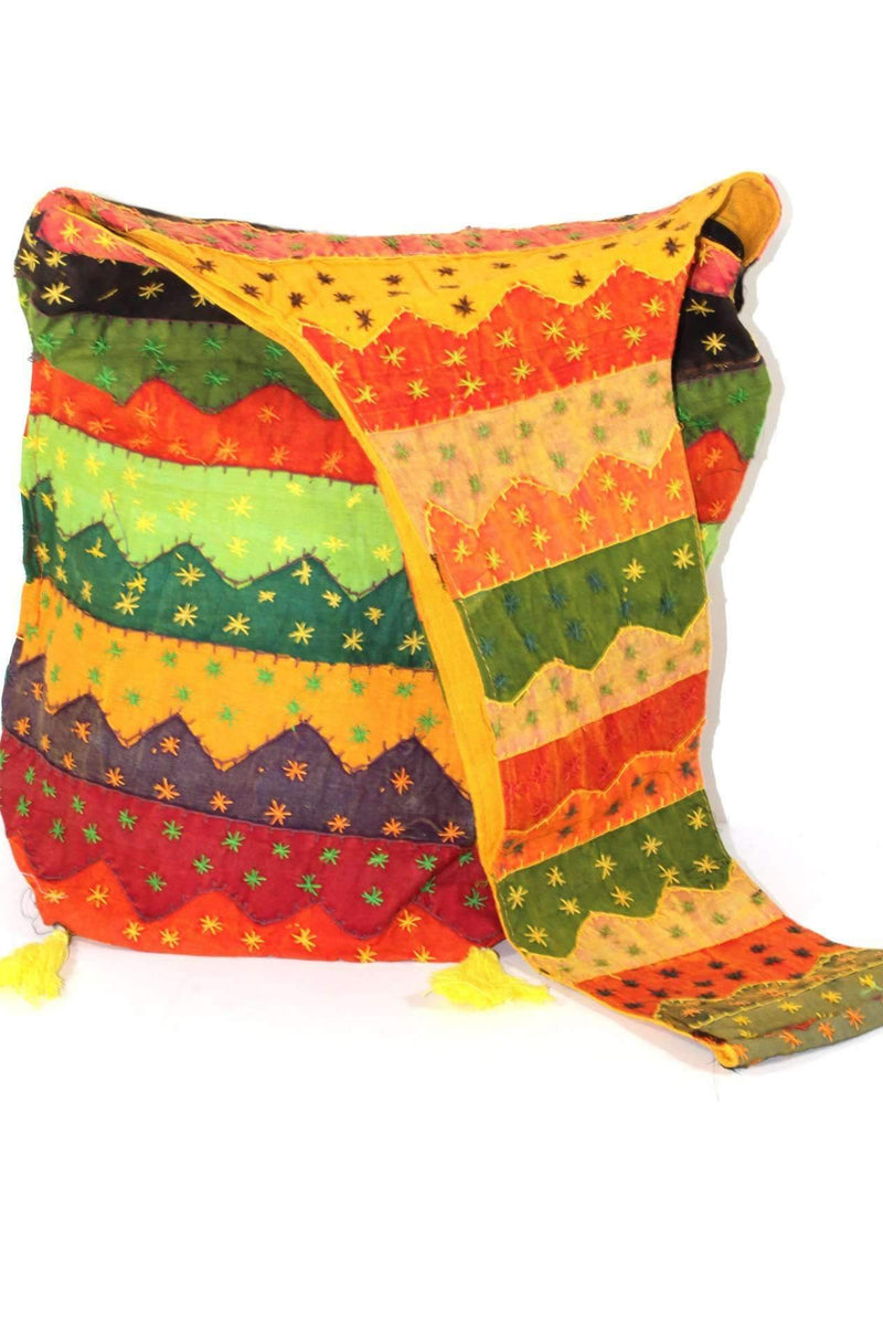 Carnival Wave Patchwork Jhola Bag by Wild Lotus
