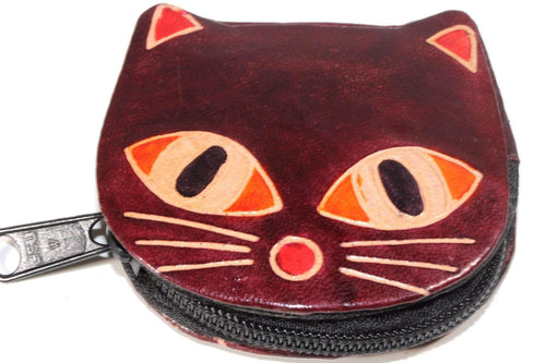 Maroon Kitty Boo Coin Purse