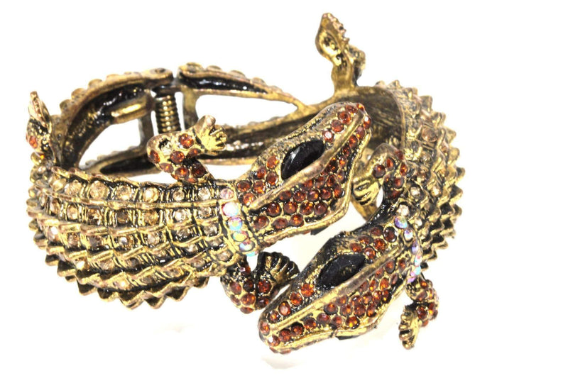 Amber Crocodile Statement Bangle