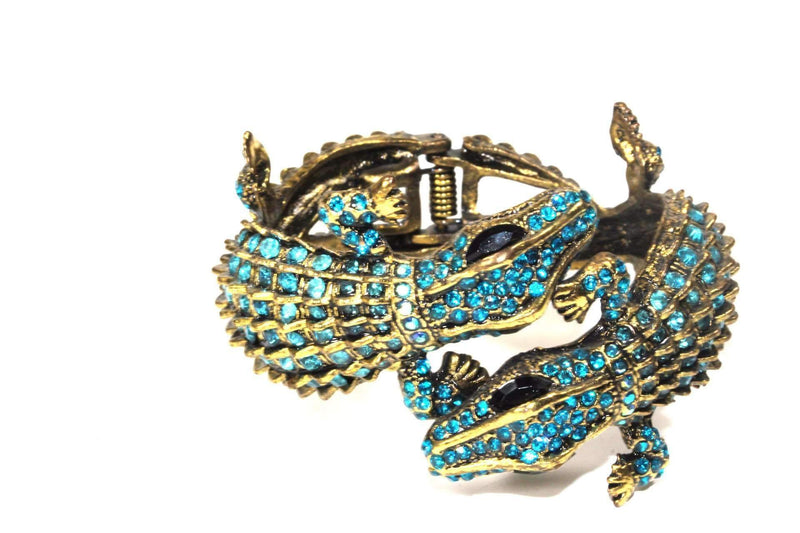 Aqua Crocodile Statement Bangle