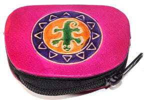 Pink Tribal Salamander Coin Purse