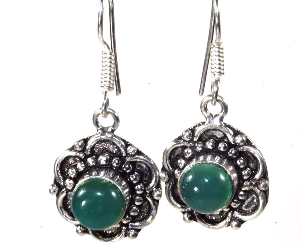 Mystic Green Glass & Flower Earrings