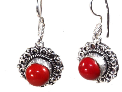 Coral Red Flower Earrings