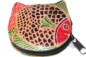 Colorful Fishies Coin Leather Purse by Wild Lotus