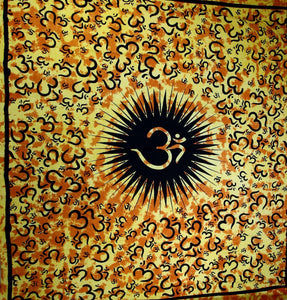 Yellow Om Echoes Tapestry