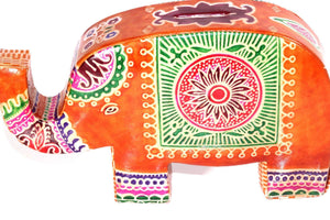 Orange Festival Elephant Leather Piggy Bank