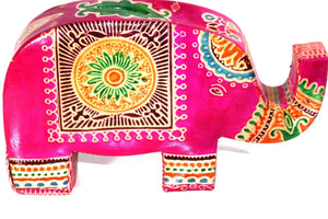 Pink Festival Elephant Leather Piggy Bank