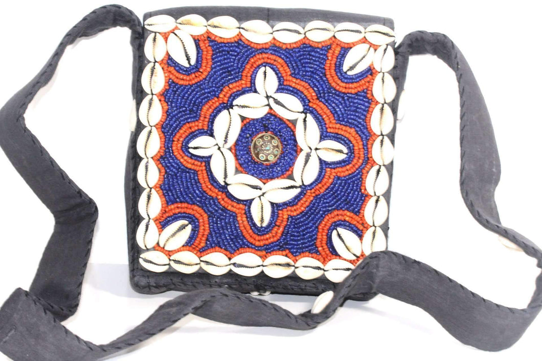 Bermuda Vintage Cowrie Shell & Bead Work Cross Body Purse