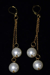 Matte Gold Faux Pearls Dangle Earrings