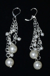 Faux Pearls & Chains Dangle Earrings