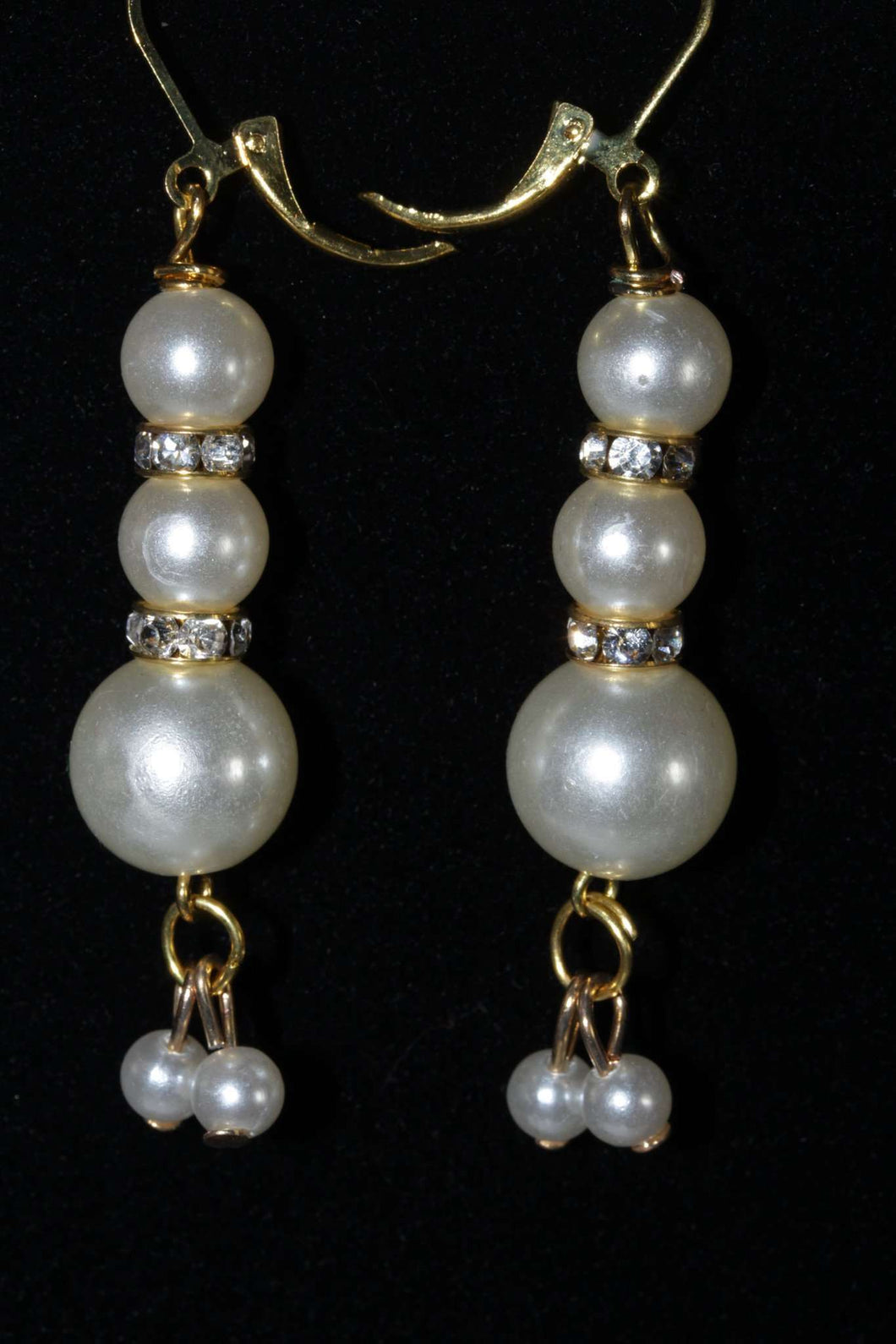 Faux Pearls & Pave Charm Earrings