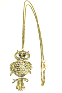 Antique Gold Tone Wide Eyed Owl Necklace