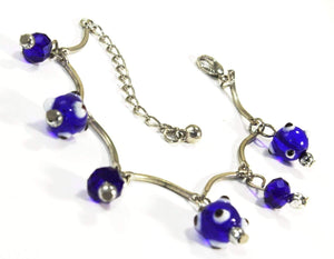 Evil Eye Beads & Blue Crystal Bracelet