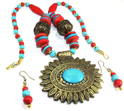 Flower Medallion Boho Necklace & Earrings Set