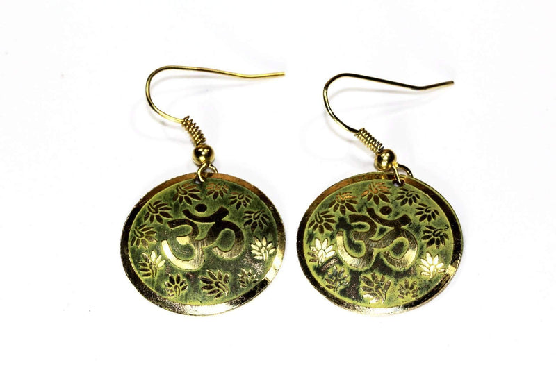 Garden Green Lotus Petals And Om Yoga Earrings