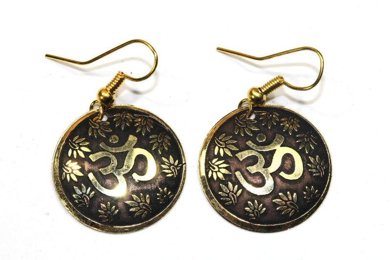 Mud Brown Lotus Petals And Om Yoga Earrings