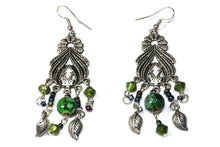 Load image into Gallery viewer, Green Bohemian Queen Marbled Bead Earrings