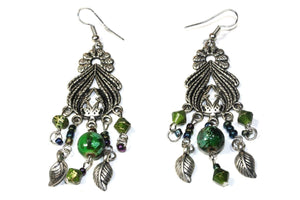 Green Bohemian Queen Marbled Bead Earrings