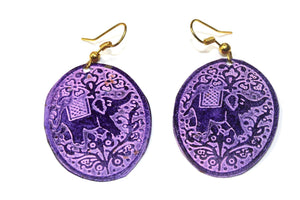 Purple Festival Elephant Earrings