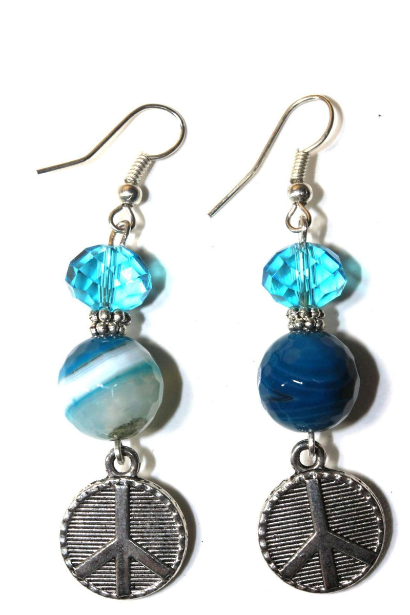 Blue Crystal Peace Sign Stone Earrings