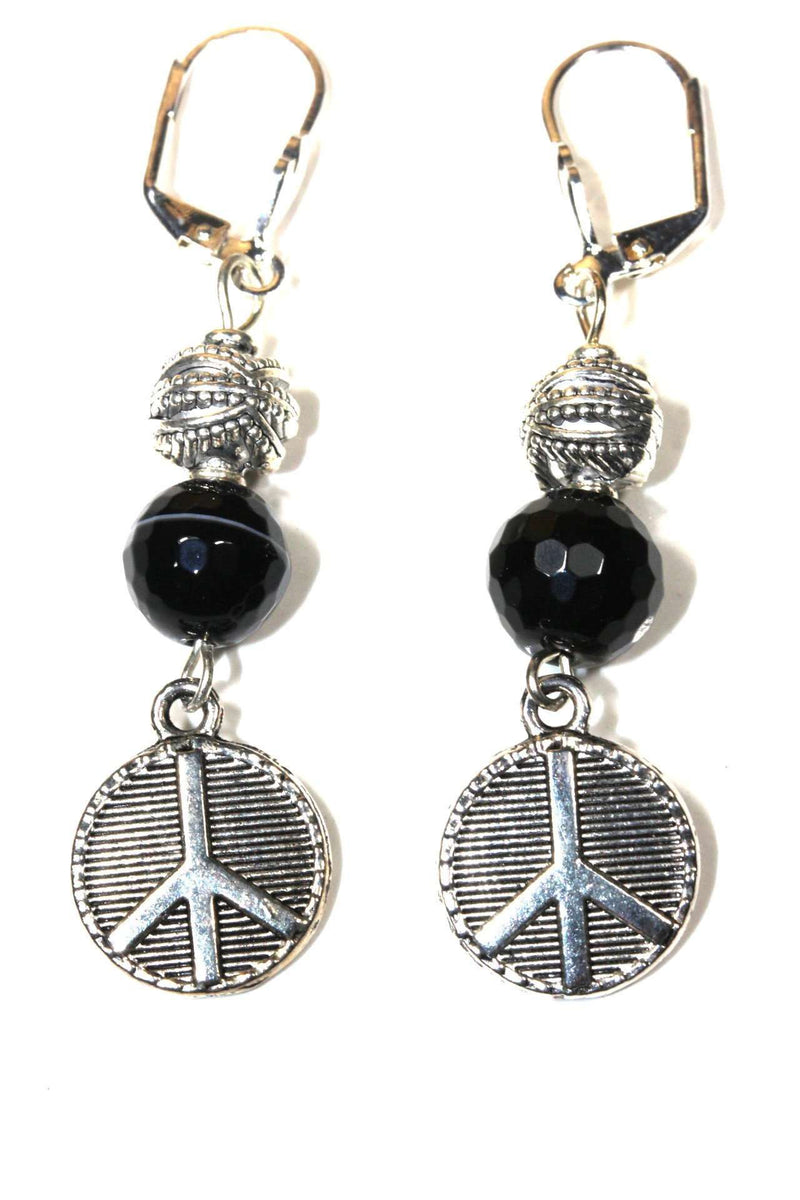 Black Agate Peace Sign Stone Earrings