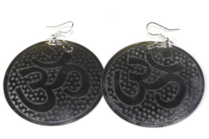 Silver Tone Grand Om Yoga Earrings