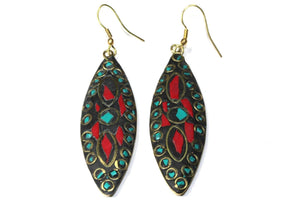 Multi Color Mosaic Marquise Silhouette Earrings