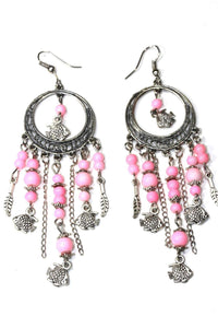 Light Pink Fish Charms Chandelier Bead Earrings