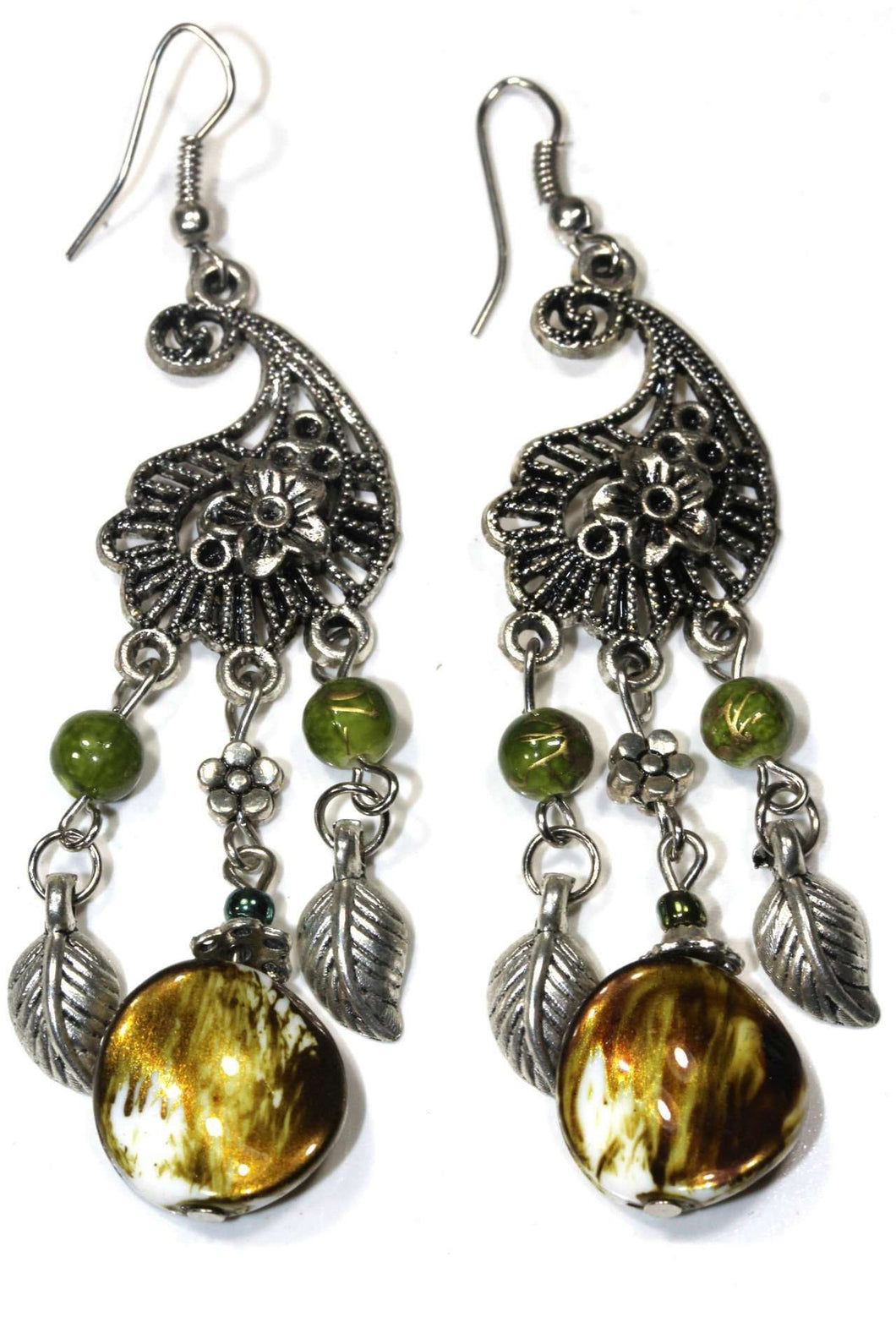 Forest Green Paisley Charm Earrings