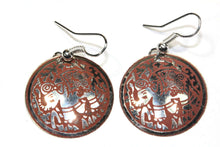 Load image into Gallery viewer, Silver Tone Terracotta Petite Carnival Elephant Danglers