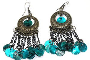 Metallic Turquoise Carnival Gypsy Earrings