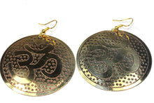 Load image into Gallery viewer, Gold Tone Grand Om Yoga Earrings