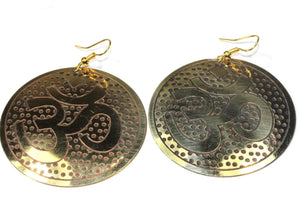 Gold Tone Grand Om Yoga Earrings