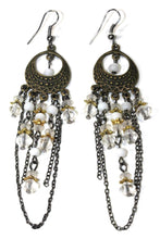 Load image into Gallery viewer, White Gypsy Style Chandelier Earrings