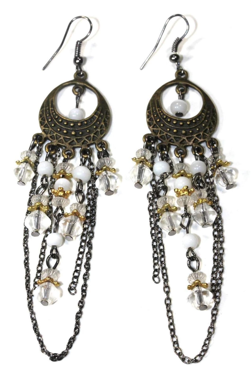 White Gypsy Style Chandelier Earrings