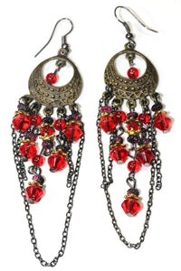 Red Gypsy Style Chandelier Earrings