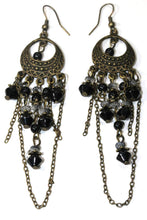 Load image into Gallery viewer, Black Gypsy Style Chandelier Earrings