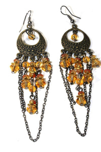 Amber Gypsy Style Chandelier Earrings