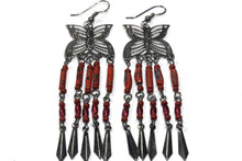 Load image into Gallery viewer, Coral Butterfly Dangler Earrings