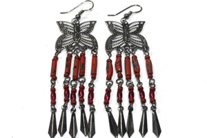 Coral Butterfly Dangler Earrings