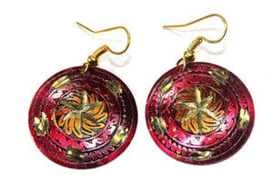Royal Pink Metallic Cosmic Star Earrings