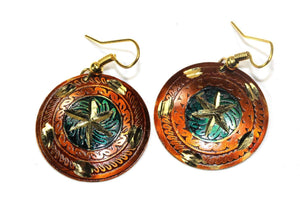 Earthy Brown Metallic Cosmic Star Earrings