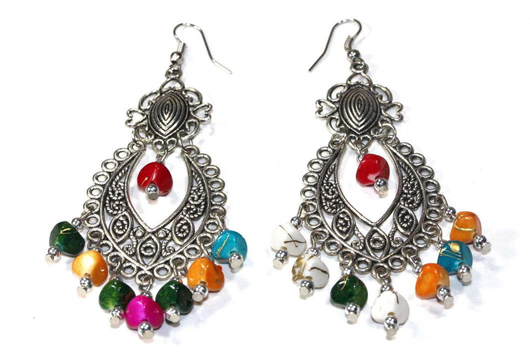Multi Color Tropical Shades Scroll Work Earrings