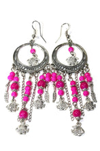 Load image into Gallery viewer, Tropical Pink Fish Charms Chandelier Bead Earrings