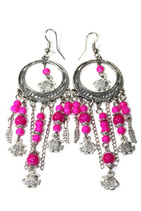 Tropical Pink Fish Charms Chandelier Bead Earrings