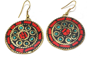 Coral Red Mosaic Round Earrings