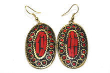 Load image into Gallery viewer, Coral Red Mosaic Oval Earrings