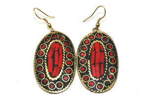 Coral Red Mosaic Oval Earrings